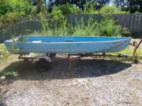 1977 14 foot V hull aluminum boat, trailer, trailer has
