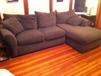2-piece Dark Taupe Sectional Couch with Chaise Lounge.I