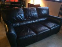 Gorgeous Leather Sofa (Black) - See images attached.-If