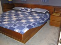 Twin bed, Teak captains beds with end tables, storage