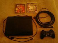 500gb ps3 slim with one controller, charging cord,