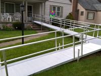 52 foot aluminum ramp with hand rails