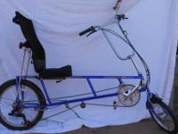 "Recumbent bicycle for adults. Overall length 73"" seat"