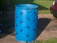 Custom made 55gal blue barrel that holds 35 plants plus