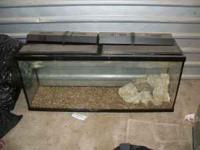 55 Gallon fish tank w/ dual lids and lights, included