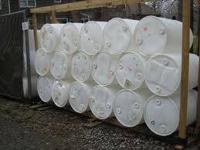 White plastic 55 gallon drums, perfect for making swim