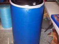 We have 55 Gallon Plastic Barrels with Locking Lids for