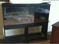 Nice snake aquarium with stand. It has a log, bowl, and