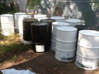 55 gallons steel drums with and without screw top off.