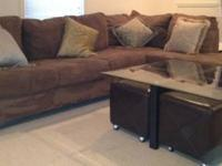 Gently used 1 year old brown sectional couch. Has
