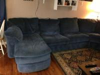 One owner grayish-blue sectional for sale. Sectional