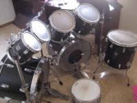 deep shells, two bass drums, four tom toms, one floor