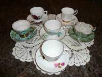 Vintage Tea Cups and Saucers, assorted set of 6. 1.