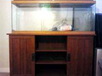 55GAL fish tank with stand, hood, and lights. sold as