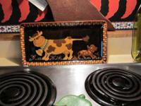 Craft - Swiss Porcelain Tray - Cow and a little Dog -