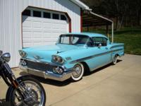 has new chrome, paint, interior, tires. 348 tri power,