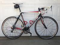 This is a 58cm Fuji Team Pro roadway bike with a SRAM
