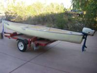 16 feet fiberglass, square back Canoe. This is not a