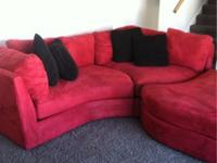 This high quality Contemporary red microfiber couch is
