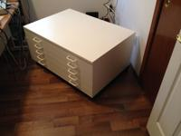 5 Drawer paper holding cabinet. White with top and