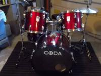 Coda 5 piece drum set...comes complete with bass drum,
