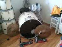 5 piece Pearl drum set with a hi hat, 4 stands, double