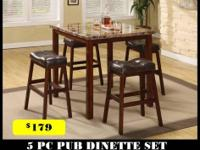 Toledo Dining Set Constructed of sturdy metal, wood and