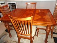 56 inch Solid Wood Table and 4 Matching Chairs,Color: