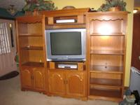 Selling 5pc solid Oak entertainment center. Nothing