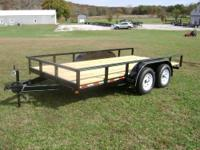 "This is a brand new 6'4""x14' double axle utility"