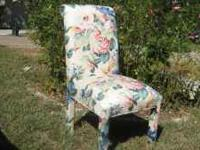 Beautiful solid built floral diningroom chairs. Set of