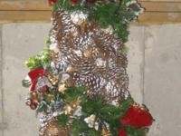 6 Foot Neiman Marcus Decorative Pine Cone Christmas