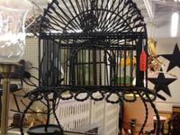 Photo 1) Forest Green Sturdy Heavy-Gauge Wire Basket w/