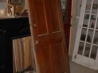 "2 6 Panel solid wood exterior doors 32 & a 34"" Hard to"
