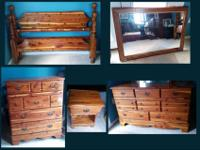 6-pc Cedar Bedroom Set includes:Full size bed frames