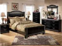 6 Piece Ashley Furniture Bedroom Suit!! Black. Queen