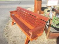 Redwood Bench with Back:. 4' without armrests - $