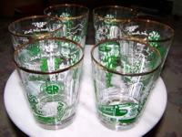 6 Southern Railroad Gold Trimmed High Ball Glasses -