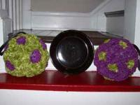 "12 - 6"" handmade styrofoam purple and lime green"
