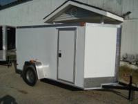 6 X 12 ENCLOSED TRAILER WHITE EXTERIOR V NOSE 3500LB