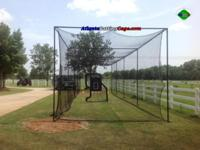 Batting cage 12x14x60 ft. Black frame #30 Netting with