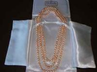 "60"" Pink Freshwater Cultured Pearl Necklace This"