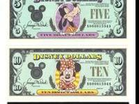 THESE ARE CRISP MINT 1990 DISNEY DOLLARS. THERE IS A