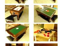 Elegant 4 in 1 mahogany game coffee table with 2