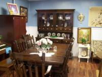 Ethan Allen Vintage Dining Set - Solid Wood, DarkTable