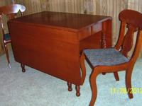 Solid Cherry Wood Drop Leaf Dining Table extends 10?9?