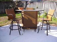 "Outdoor ""POOL BAR"" w/ 3 bar stools. Complete w/glass"