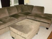 Luxurious, microfiber 3-piece sectional. Olive green