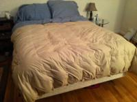 Queen mattress, box spring and bed frame for sale.