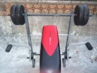 Weider Pro 265 Standard Bench With 80 Lb Vinyl Weight Set W